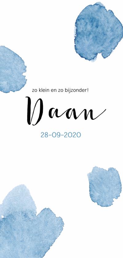 Geboortekaartjes - Waterverf blauwe vlekken