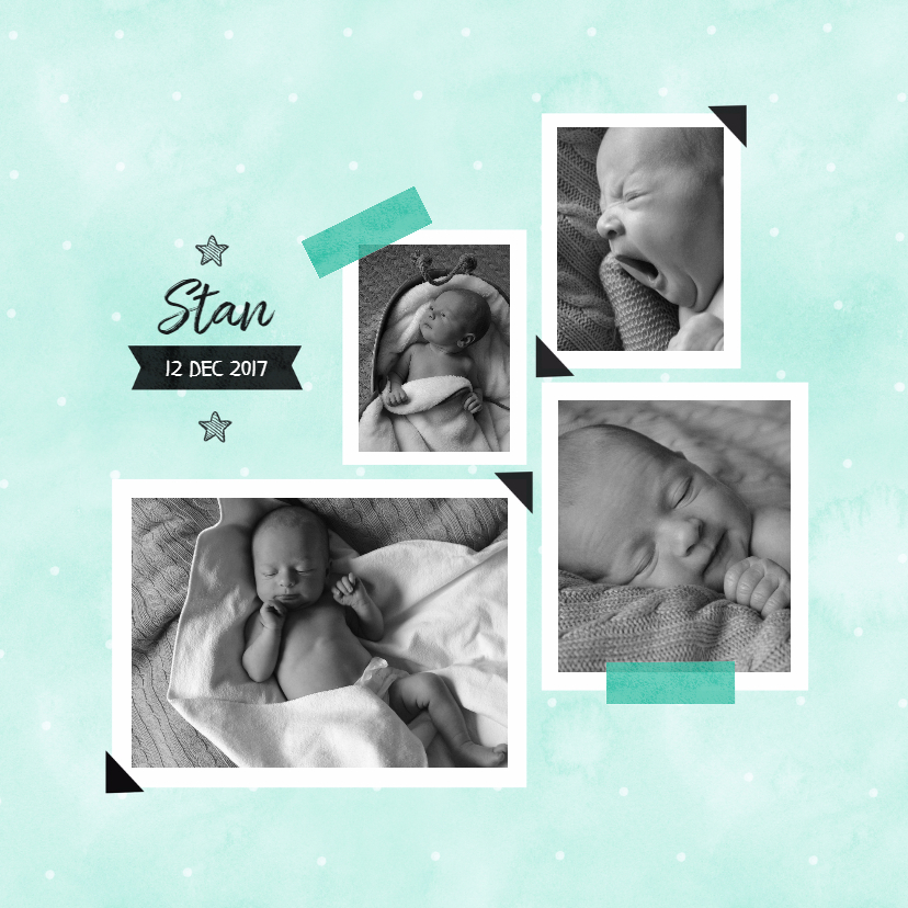 Geboortekaartjes - Waterverf Pastel geboortekaartje met foto's