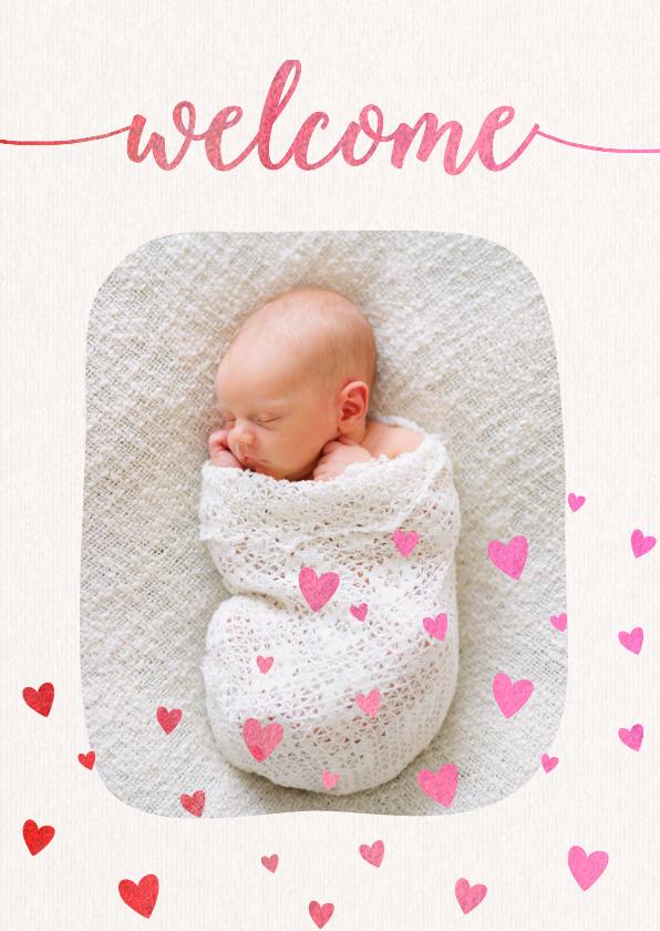 Geboortekaartjes - Welcome hartjes linnen look - DH