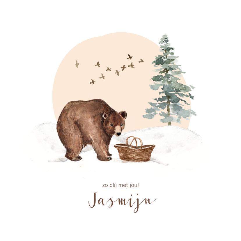Geboortekaartjes - Winter geboortekaartje beer babymandje sneeuw