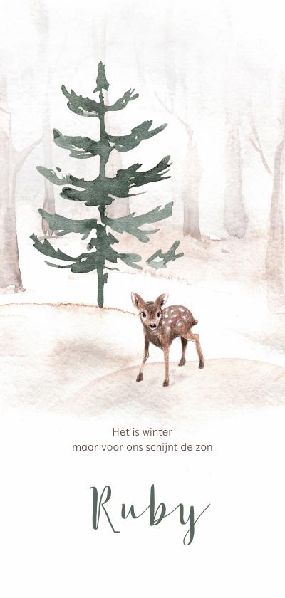 Geboortekaartjes - Winters geboortekaartje met bomen en een klein hertje