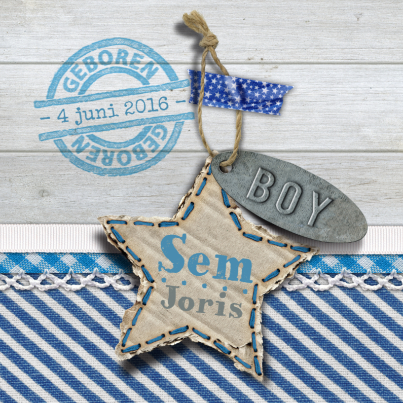 Geboortekaartjes - YVON geboorte jongen hout