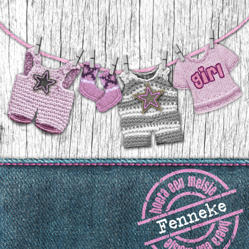 Geboortekaartjes - YVON meisje geboortekaart waslijn roze