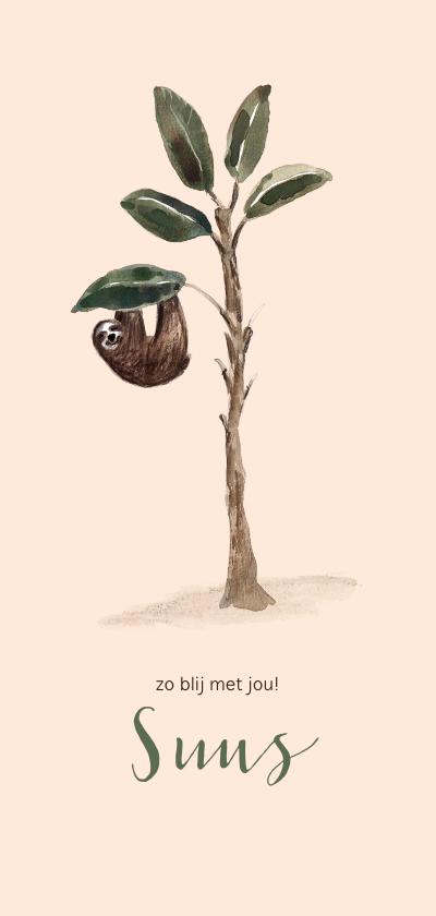 Geboortekaartjes - Zachtroze geboortekaartje luiaard in een boom