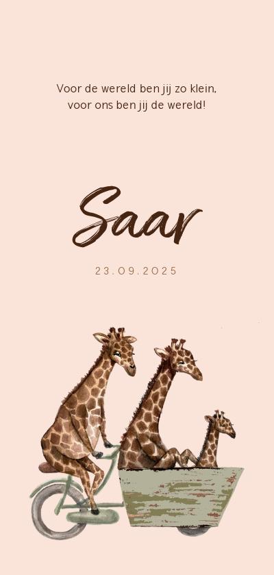 Geboortekaartjes - Zalmroze geboortekaartje met giraffen op een fiets