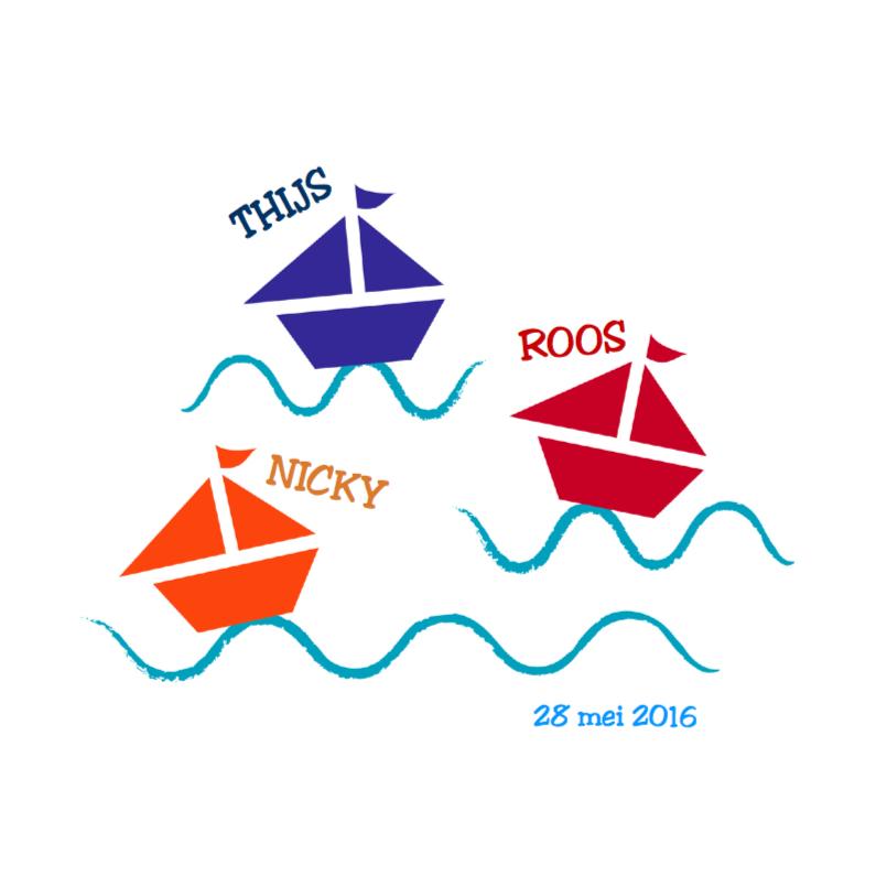Geboortekaartjes - Zeilbootjes water drieling