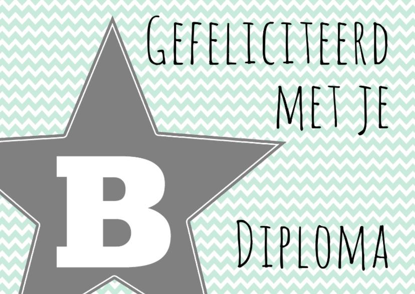 Geslaagd kaarten - Felicitatie B-diploma Ster - WW