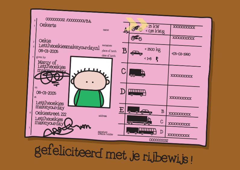 Geslaagd kaarten - Felicitatie Rijbewijs Rijbewijs