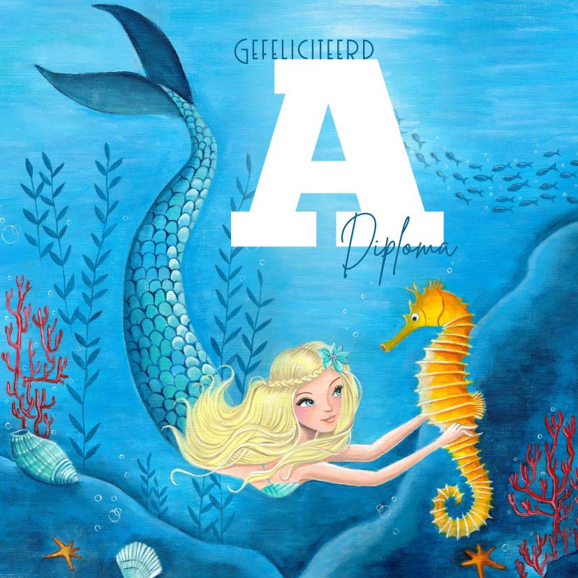 Geslaagd kaarten - Felicitatie zwemdiploma meisje zeemeermin