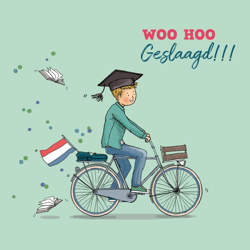 Geslaagd kaarten - Felicitatiekaart geslaagd jongen op fiets