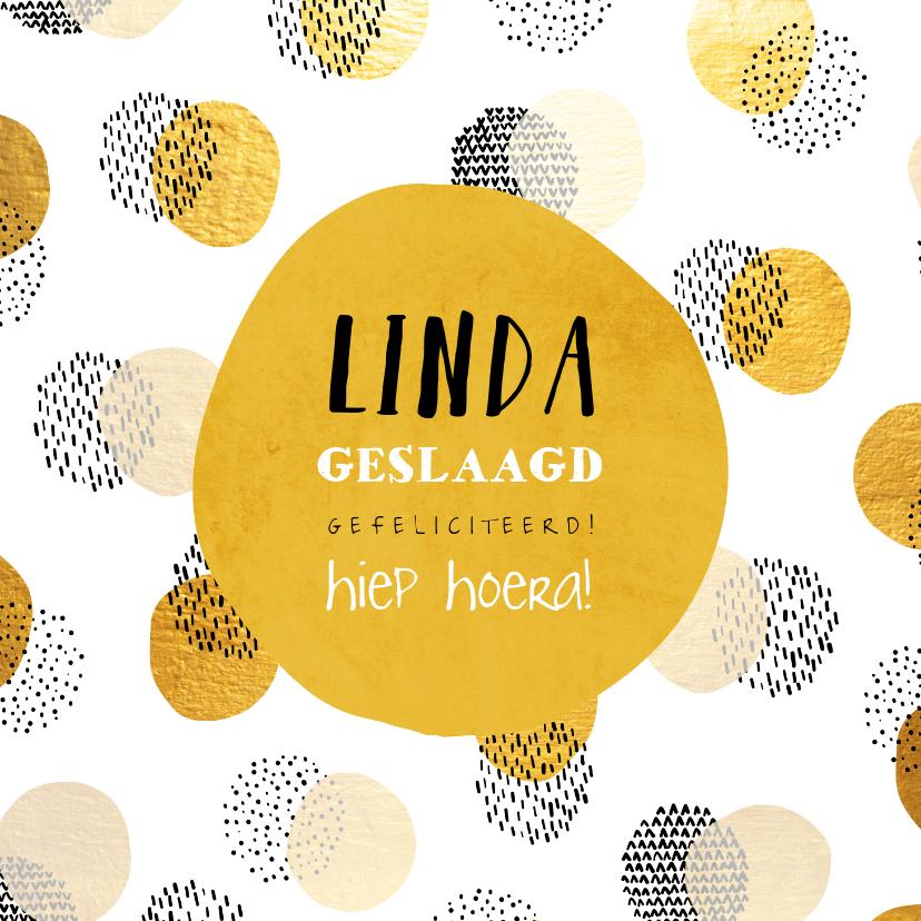 Geslaagd kaarten - Felicitatiekaart geslaagd met gouden confetti