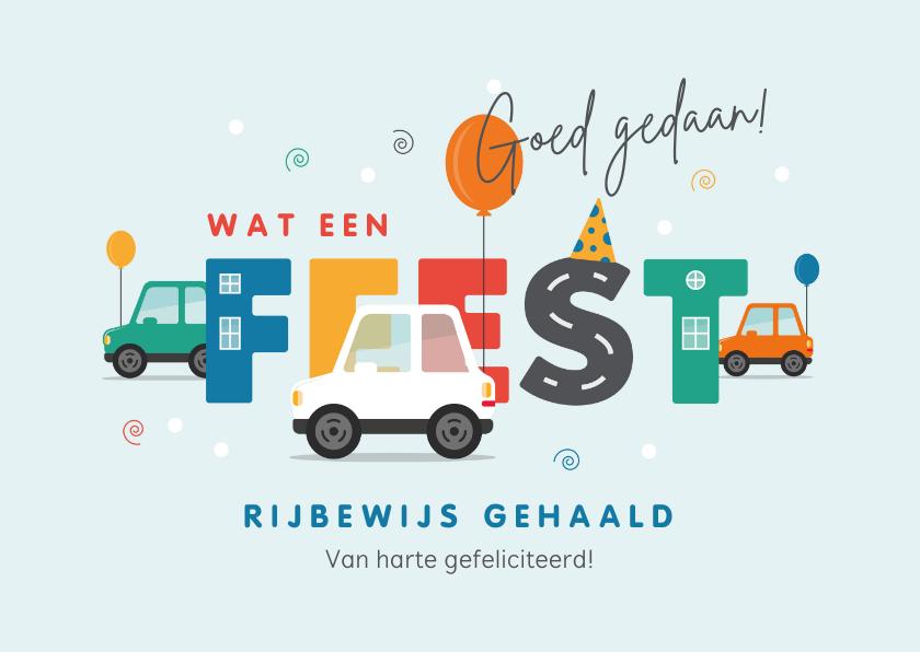 Geslaagd kaarten - Felicitatiekaart geslaagd rijbewijs auto feest