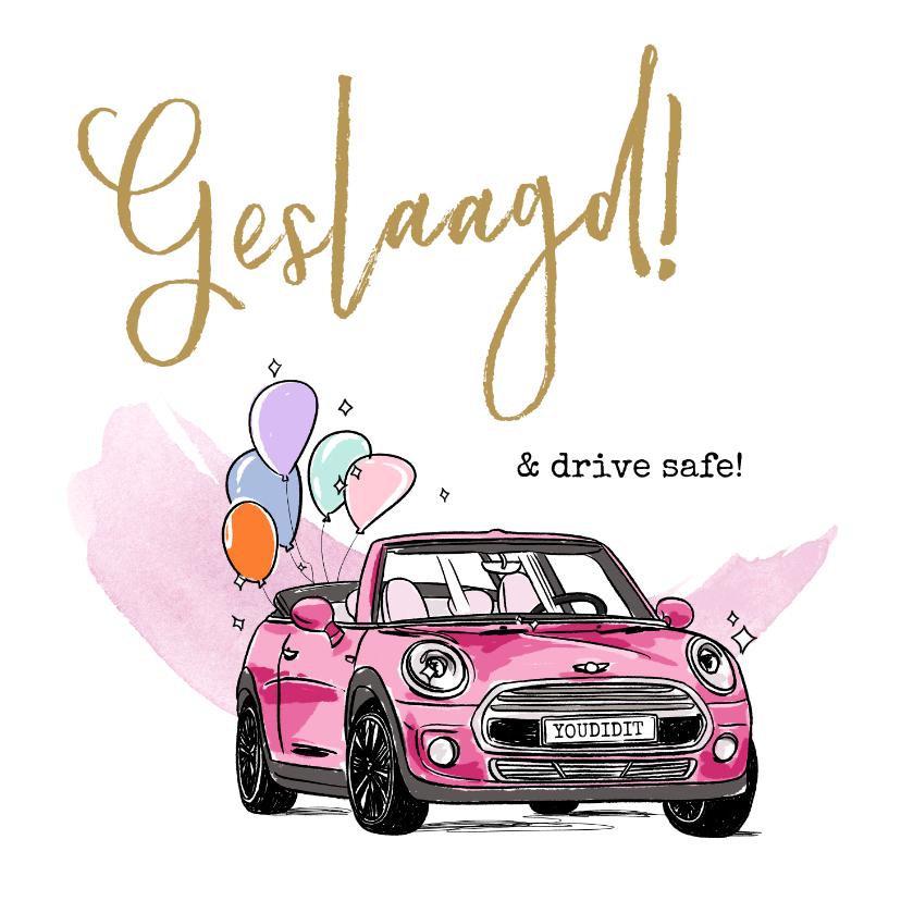 Geslaagd kaarten - Felicitatiekaart geslaagd rijbewijs met roze auto
