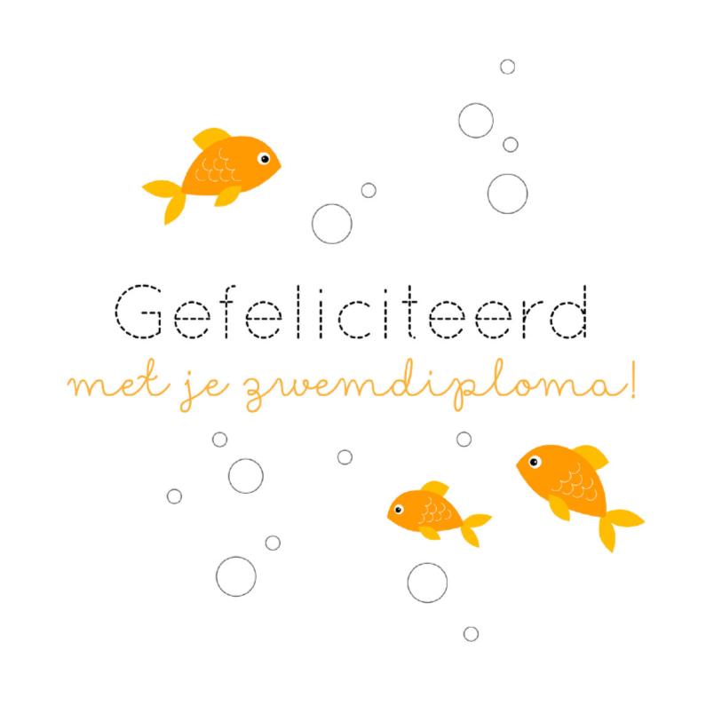 Geslaagd kaarten - Gefeliciteerd zwemdiploma vis