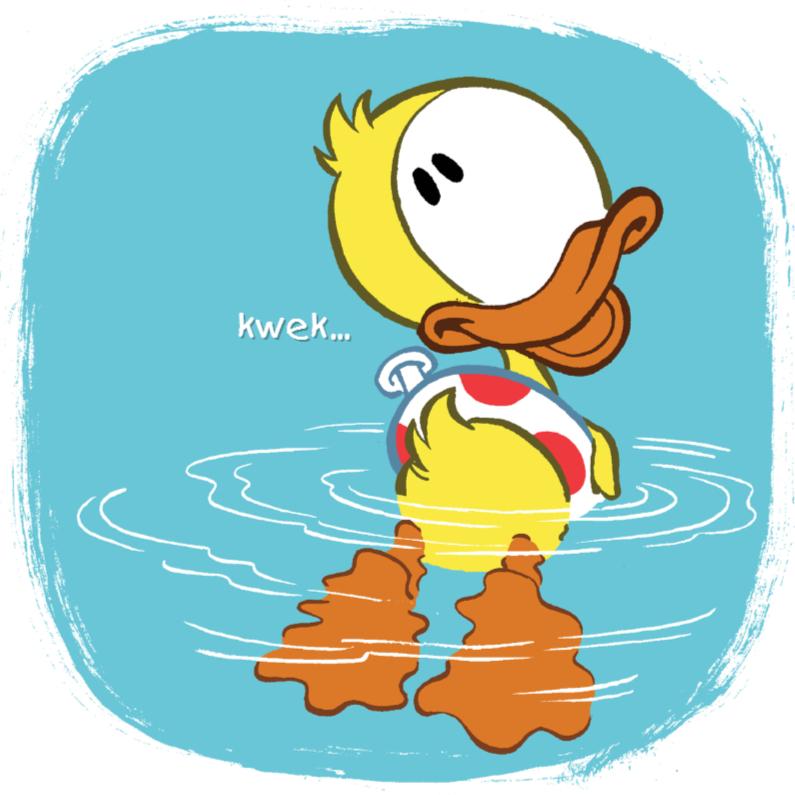 Geslaagd kaarten - Geslaagd eend Guusje zwemt