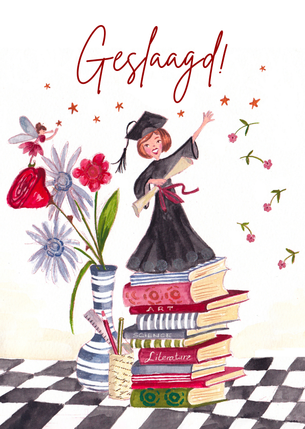 Geslaagd kaarten - Geslaagd examen meisje en boeken