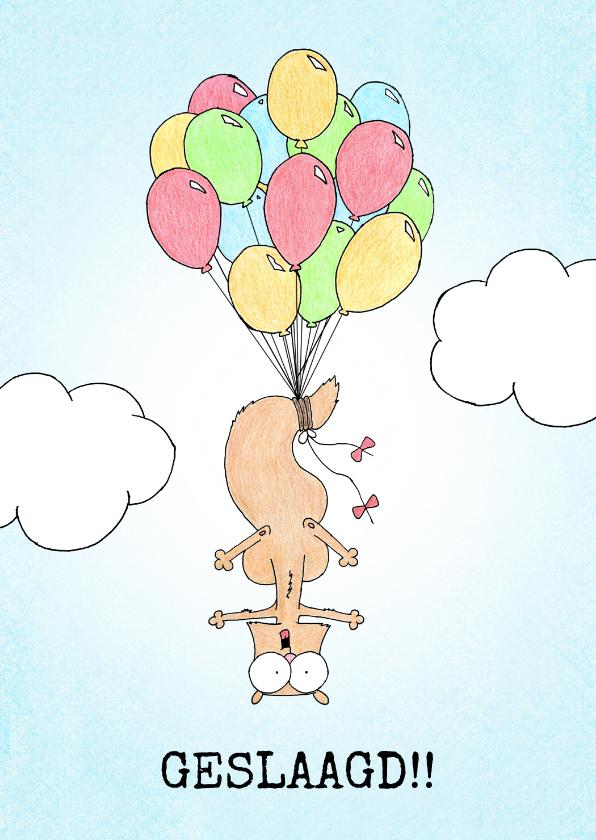 Geslaagd kaarten - Geslaagd kaart met eekhoorntje vastgeknoopt aan ballonnen