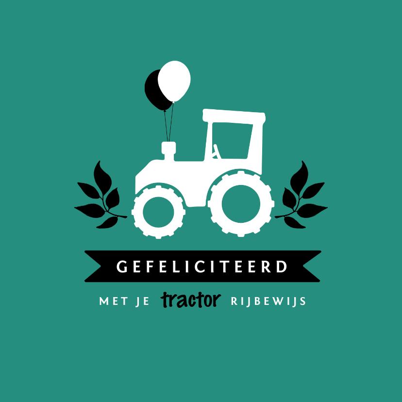 Geslaagd kaarten - Geslaagd kaart rijbewijs tractor ballonnen hip