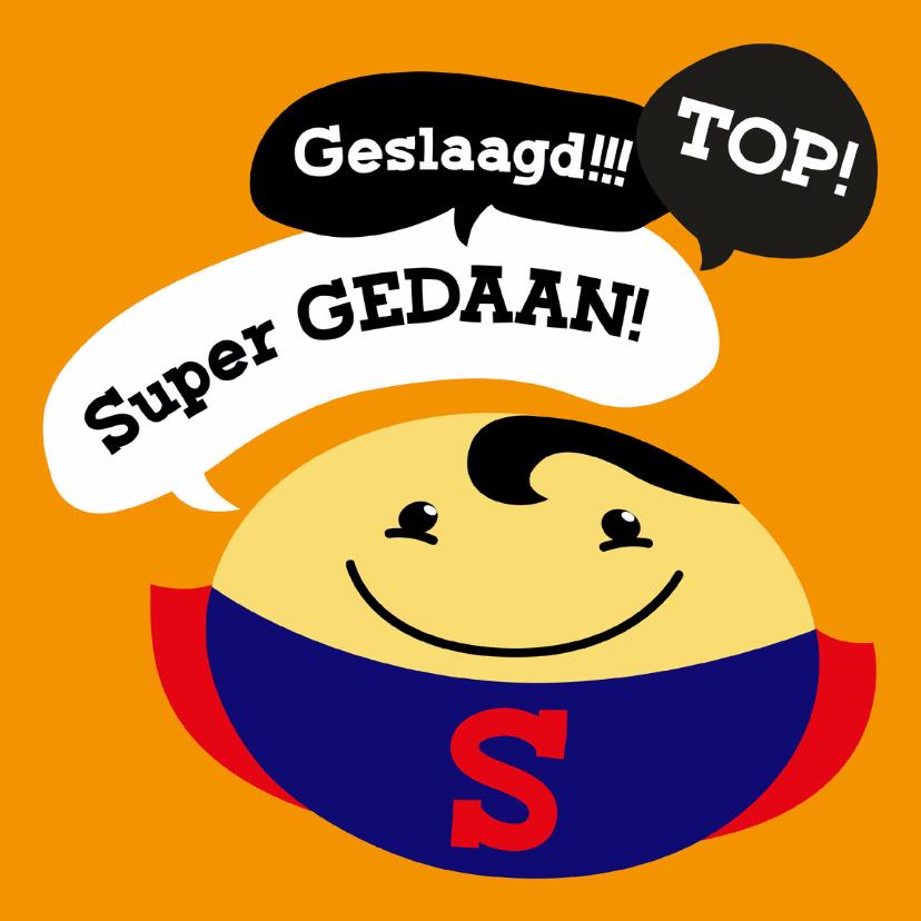 Geslaagd kaarten - Geslaagd kaart Smiley superman