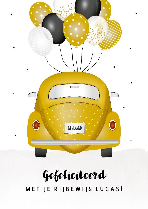 Geslaagd kaarten - Geslaagd kaart voor rijbewijs met gele kever en ballonnen
