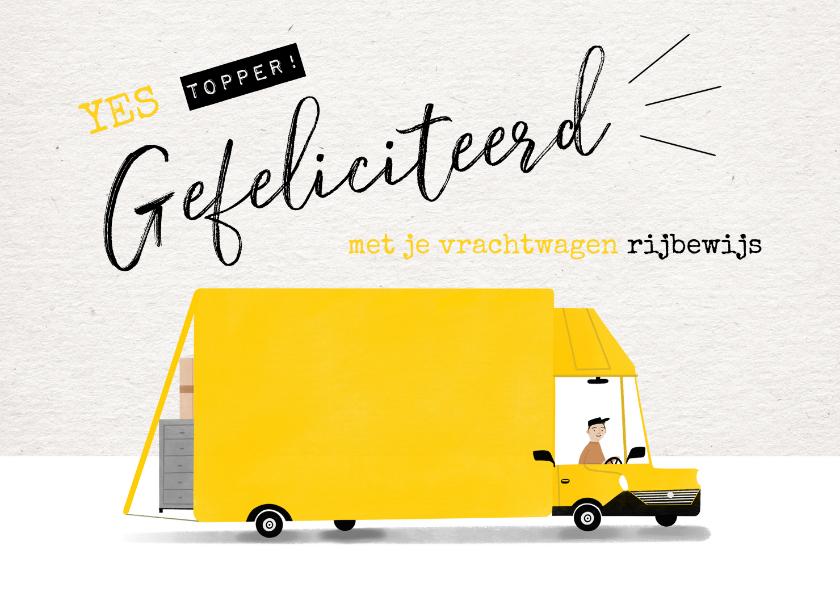 Geslaagd kaarten - Geslaagd kaart vrachtwagen rijbewijs gele bus en typografie