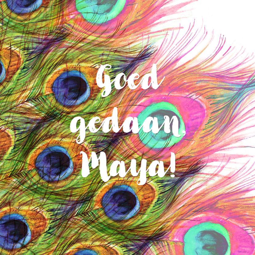 Geslaagd kaarten - Geslaagd! mooie kaart met pauw veren