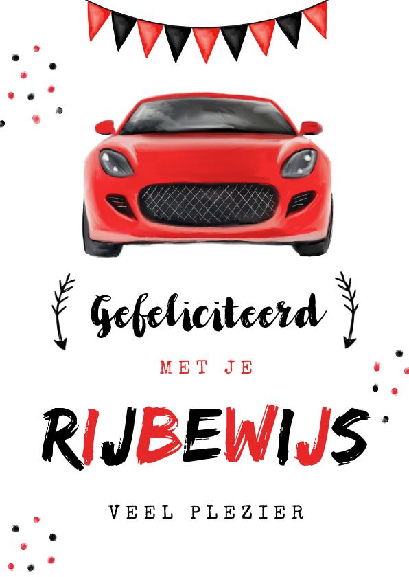 Geslaagd kaarten - Geslaagd rijbewijs feestelijk sportwagen rood