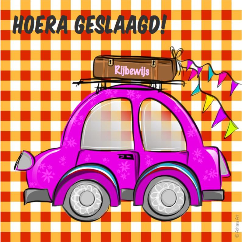 Geslaagd kaarten - Geslaagd ruitjes roze auto