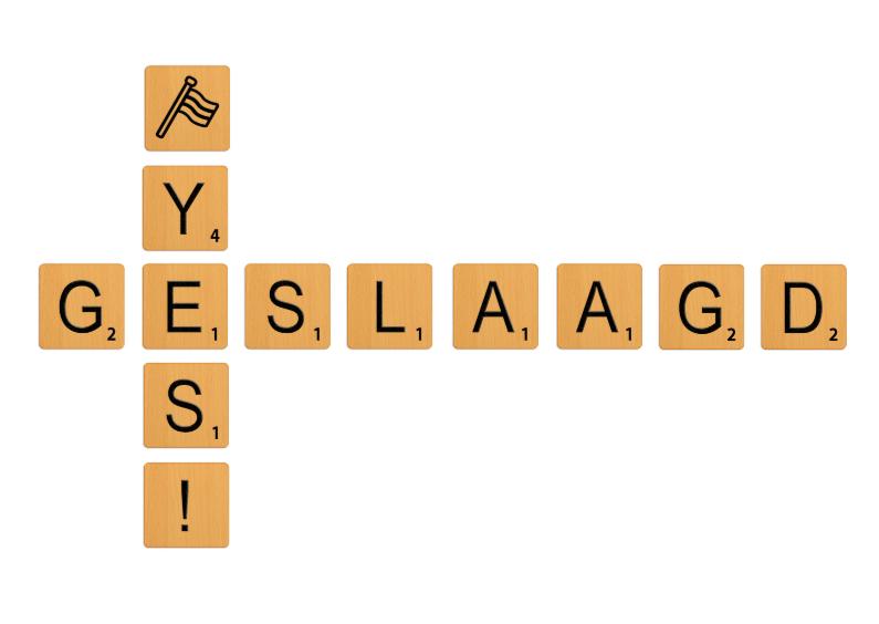 Geslaagd kaarten - Geslaagd Scrabble blokjes