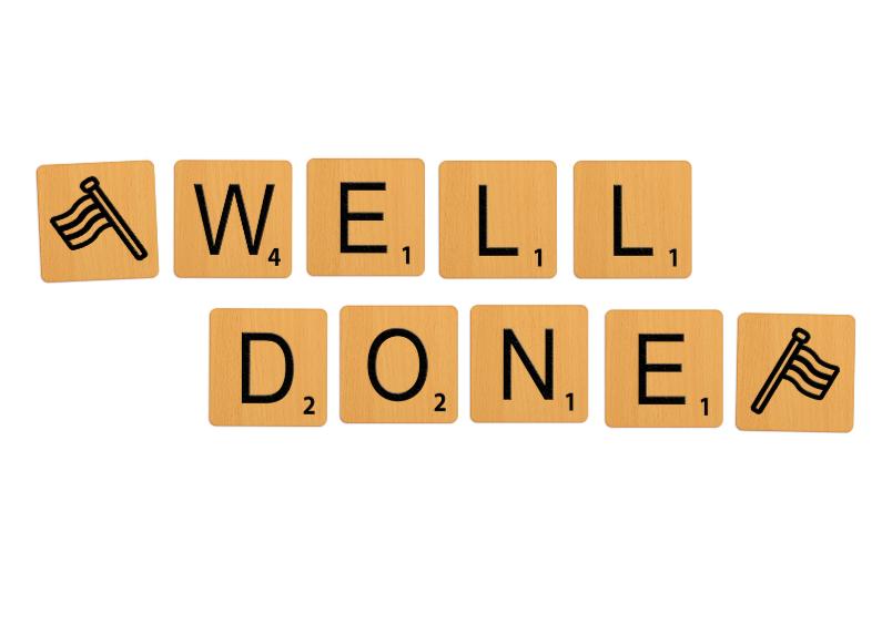 Geslaagd kaarten - Geslaagd Scrabble Well Done