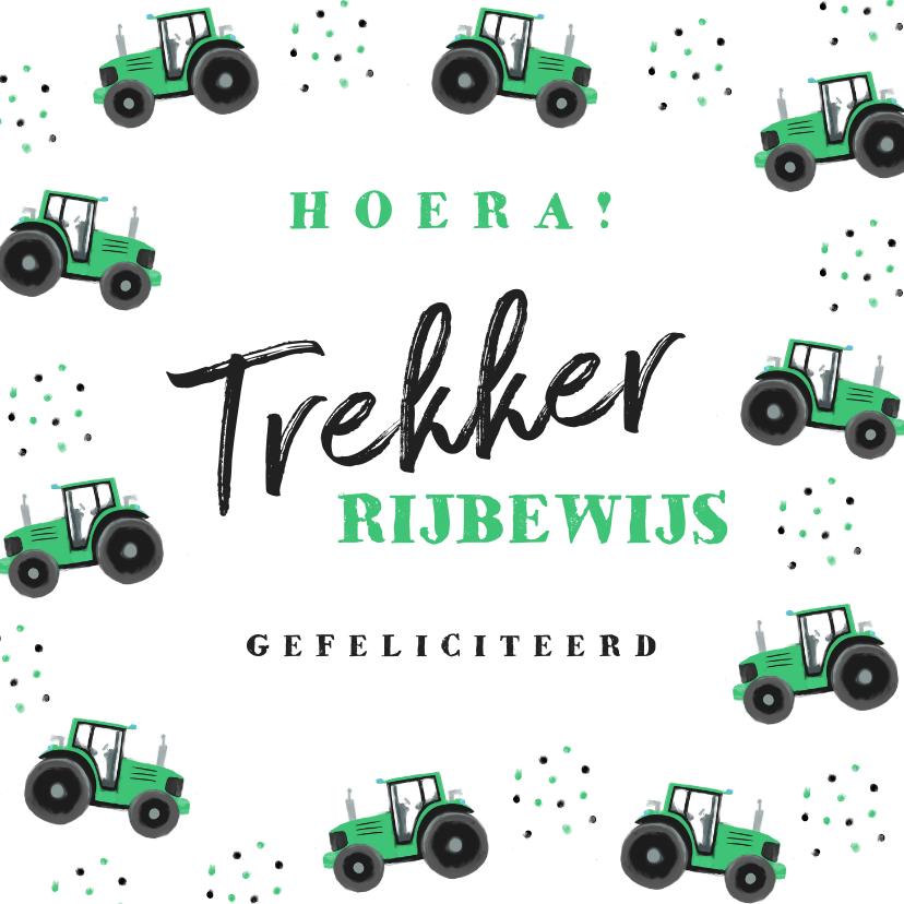 Geslaagd kaarten - Geslaagd tractor rijbewijs hip confetti foto groen