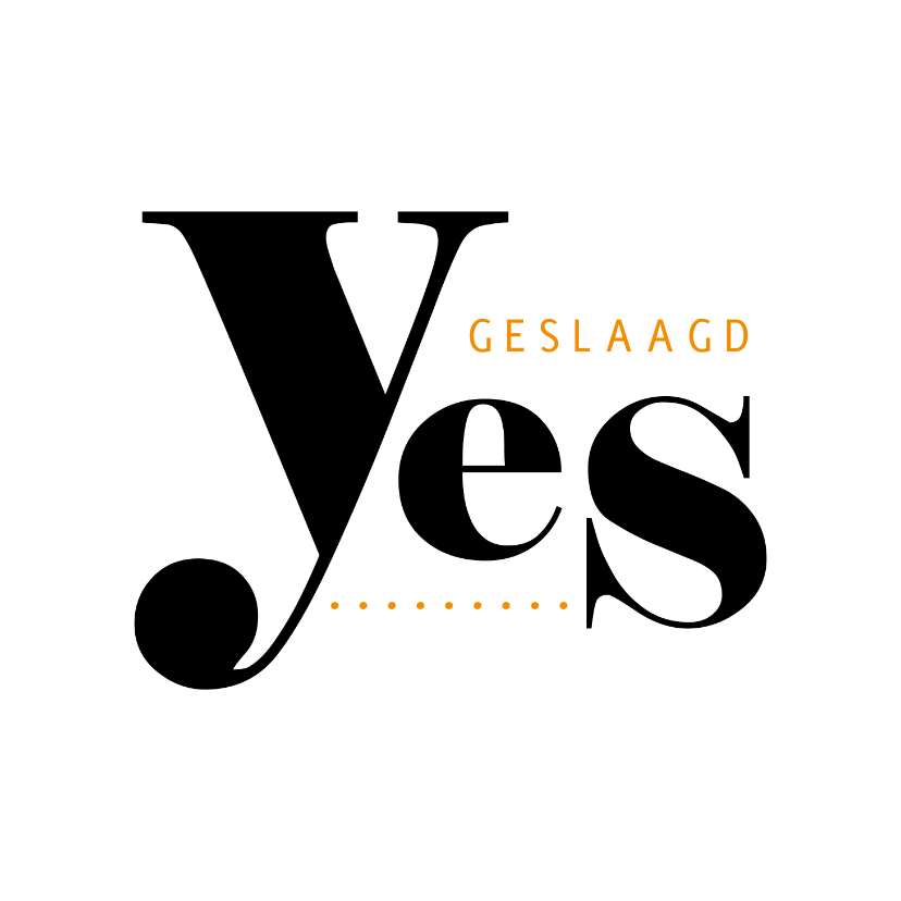 Geslaagd kaarten - Geslaagd typografisch yes