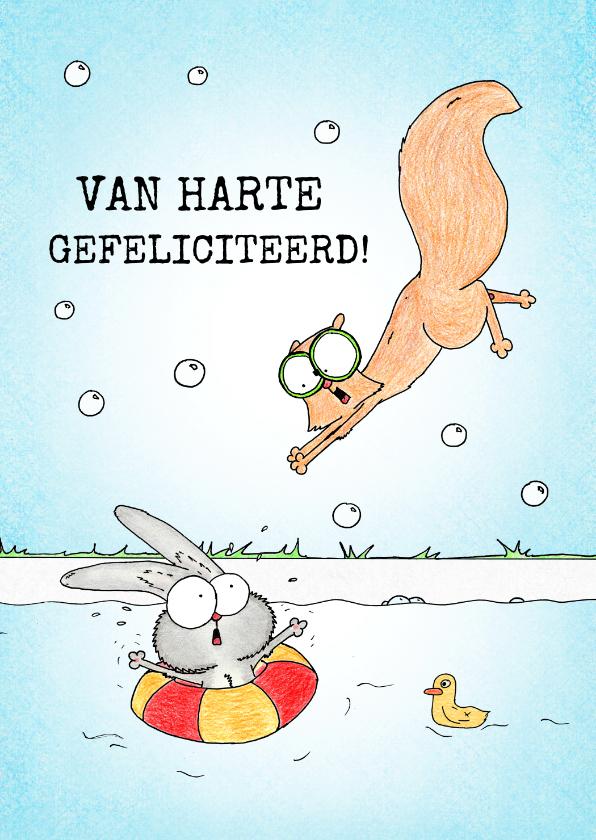 Geslaagd kaarten - Geslaagd voor zwemdiploma met konijn en eekhoorn in zwembad