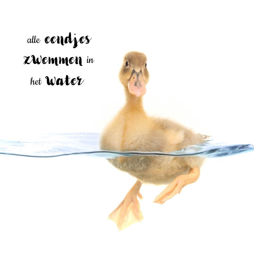 Geslaagd kaarten - Geslaagd zwemdiploma - Eendje in het water
