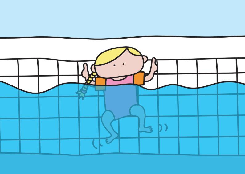 Geslaagd kaarten - Geslaagd Zwemdiploma Meisje
