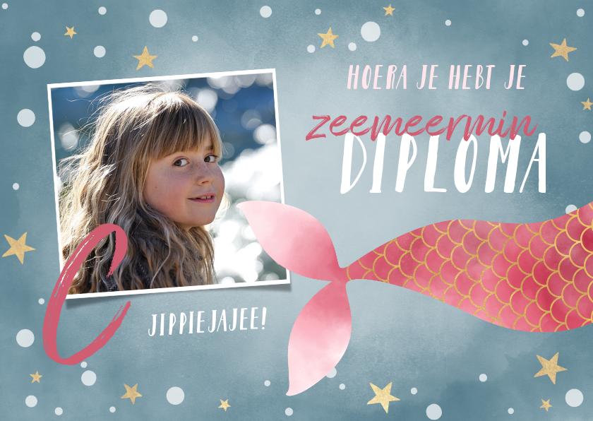 Geslaagd kaarten - Geslaagd zwemdiploma met zeemeermin en eigen foto