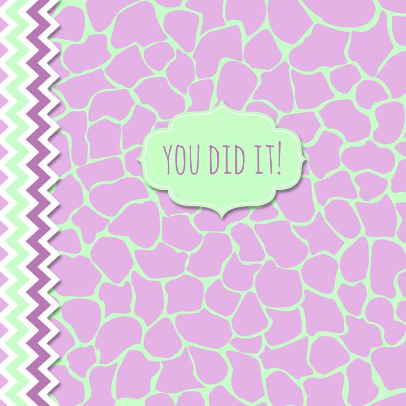 Geslaagd kaarten - Geslaagdkaart giraffeprint roze