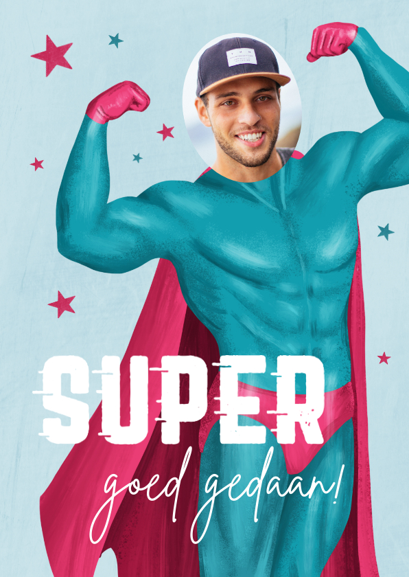 Geslaagd kaarten - Grappige geslaagd kaart man superman foto goed gedaan