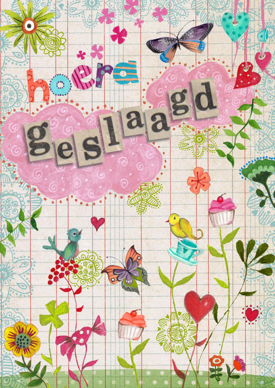 Geslaagd kaarten - Hoera Geslaagd Bloemen vrolijk