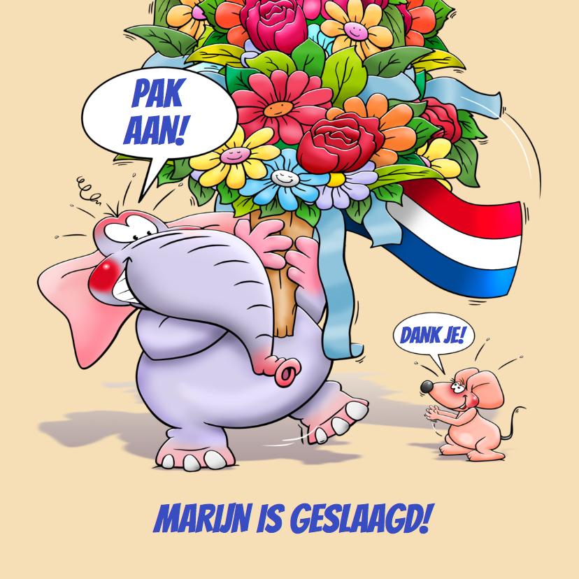 Geslaagd kaarten - Leuke geslaagd kaart olifant met bos bloemen en klein muisje