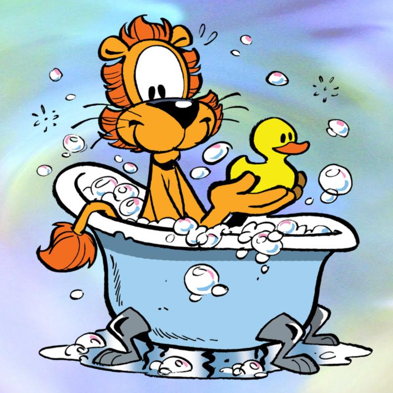 Geslaagd kaarten - Loeki de Leeuw in bad