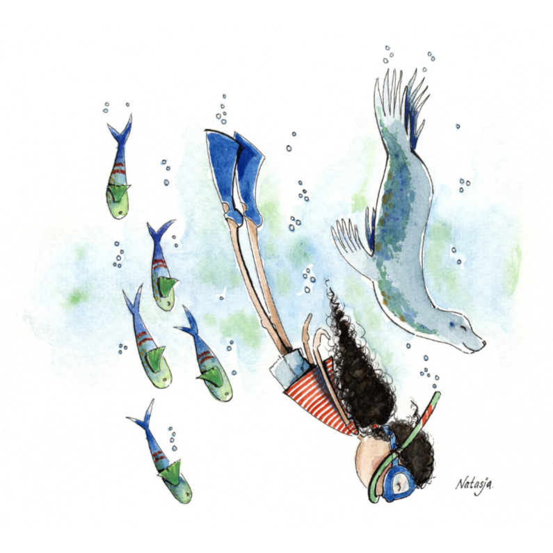 Geslaagd kaarten - Nadia onder water