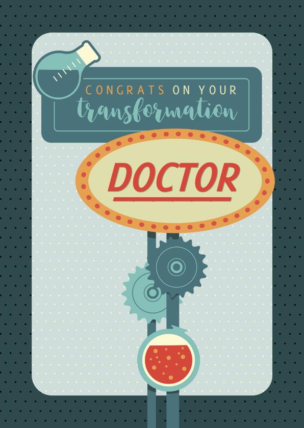 Geslaagd kaarten - PhD felicitatie kaart - transformation