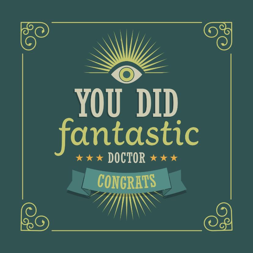 Geslaagd kaarten - PhD felicitatie kaart voor doctor met vintage look