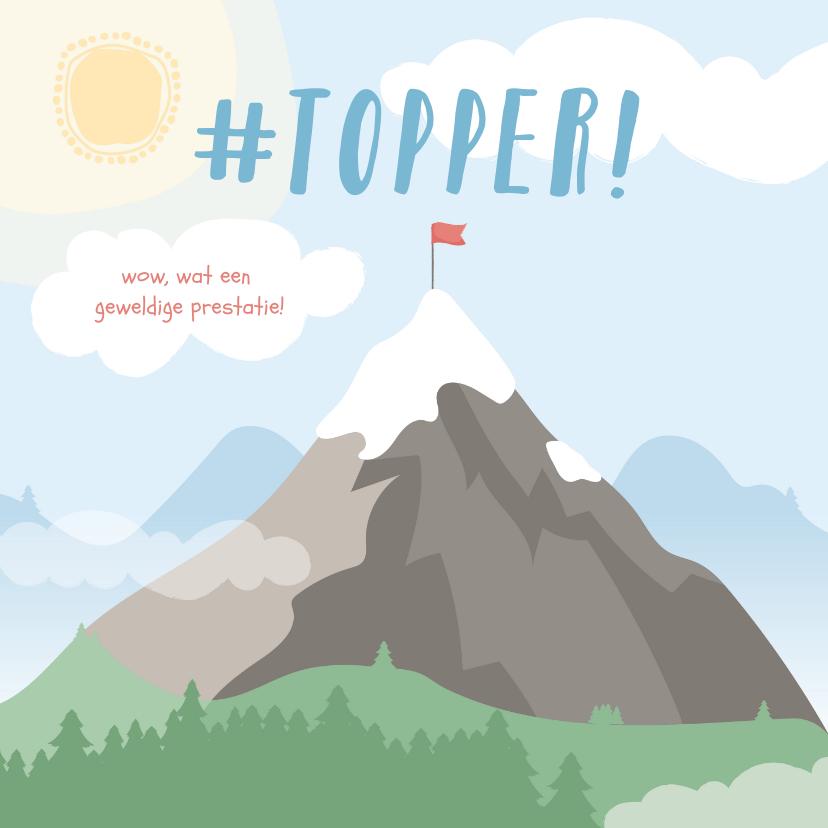 Geslaagd kaarten - Vierkante kaart met grote berg met een vlag erop #topper