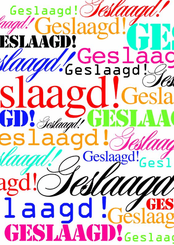 Geslaagd kaarten - Woorden - Kleurig Geslaagd! - BK