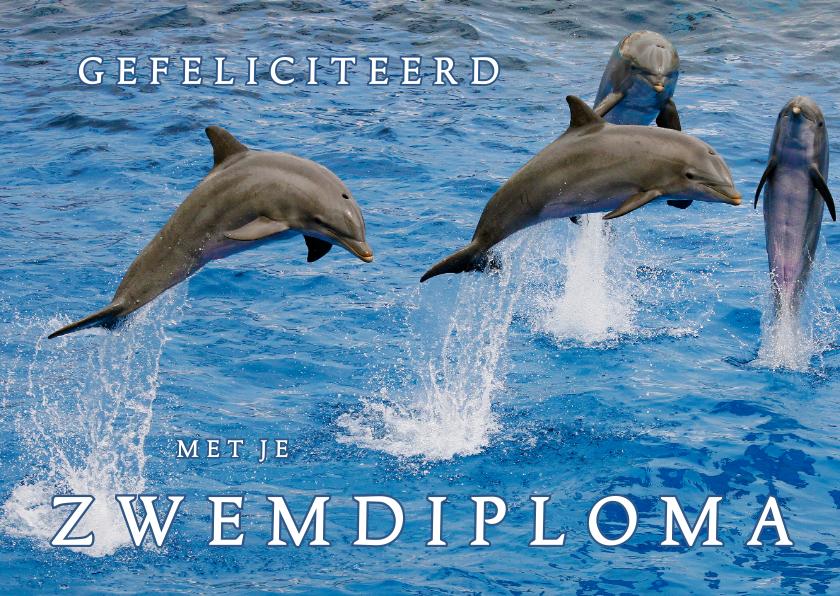 Geslaagd kaarten - Zwemdiploma 4 - Dolfijn - OT