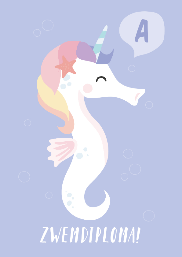 Geslaagd kaarten - Zwemdiploma felicitatie kaart met een unicorn zeepaardje