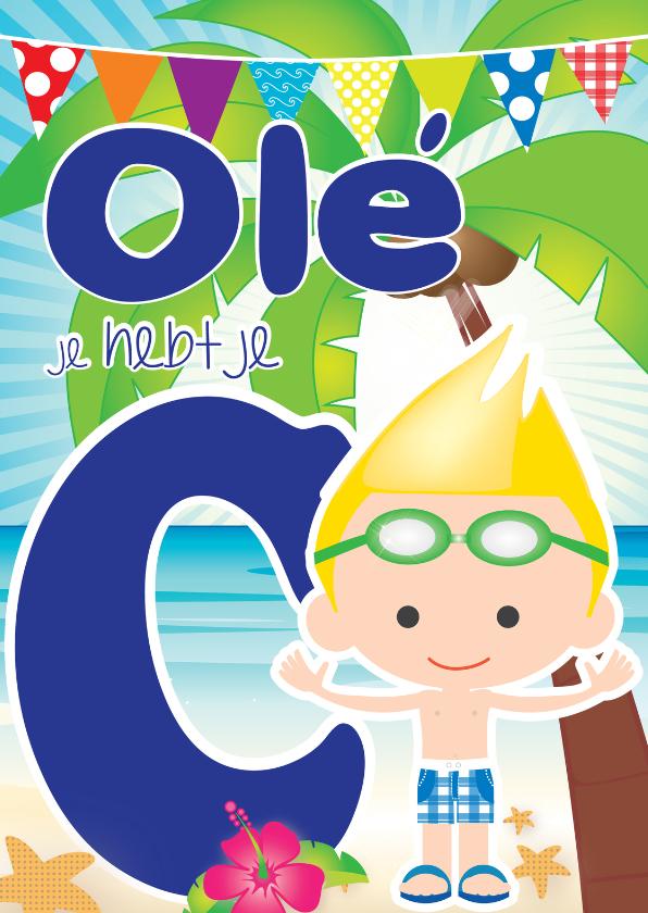 Geslaagd kaarten - Zwemdiploma Ole C Jongen