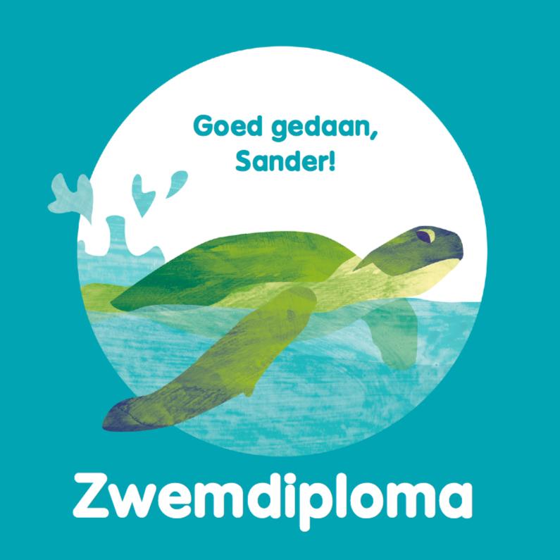 Geslaagd kaarten - Zwemdiploma schildpad in de zee